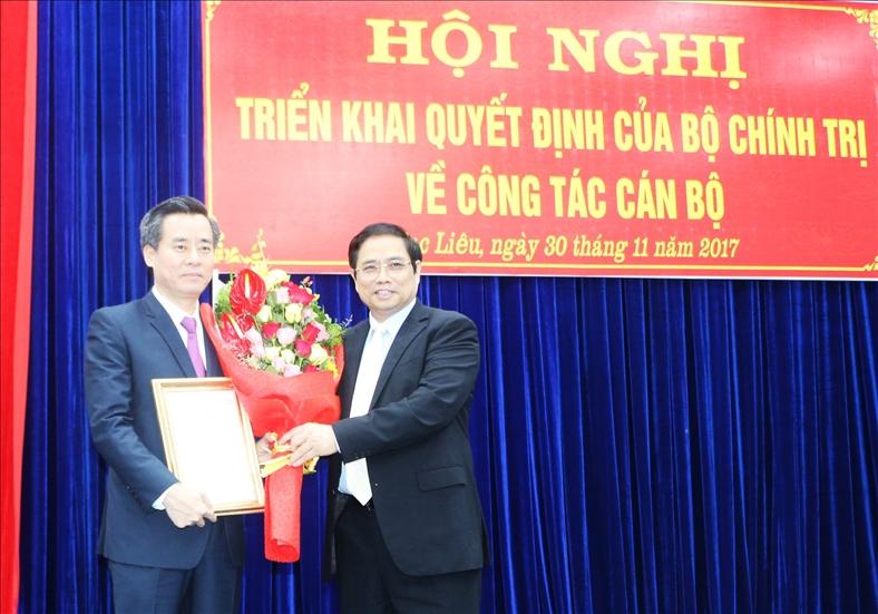 Ông Nguyễn Quang Dương giữ chức Bí thư Tỉnh ủy Bạc Liêu