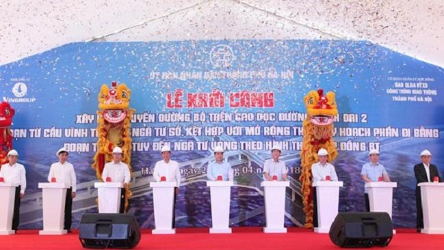 Khởi công đường trên cao 9.500 tỷ đồng nối liền Ngã Tư Sở và Vĩnh Tuy