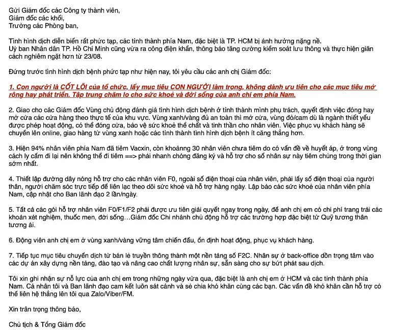 Thấy gì từ lá thư gửi nhân sự mùa dịch của Chủ tịch Bibo Mart