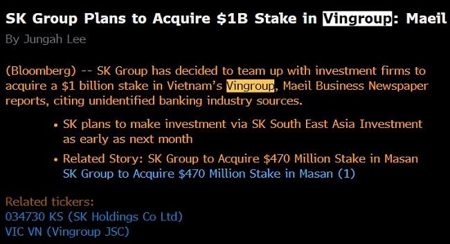 Nhà đầu tư Hàn Quốc tìm đến thương vụ tỷ USD của Vingroup