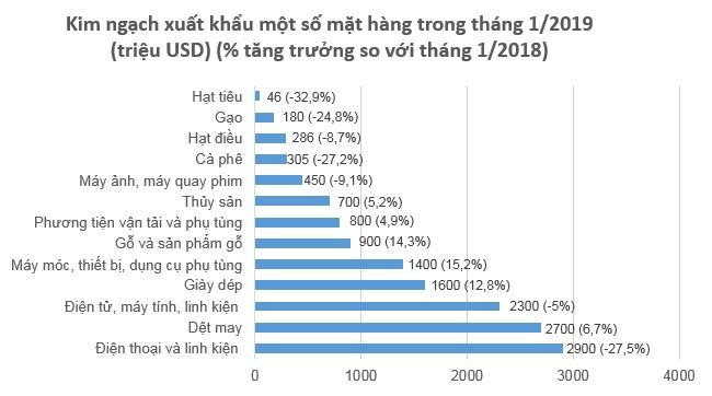 Việt Nam nhập siêu 800 triệu USD trong tháng 1/2019