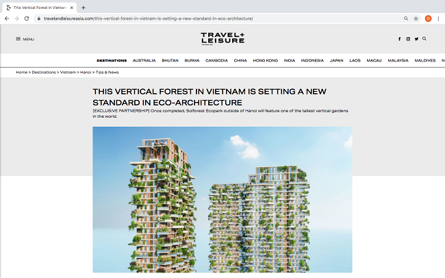 Tòa tháp xanh cao nhất của Việt Nam ở vị trí nổi bật trên tạp chí danh tiếng Mỹ