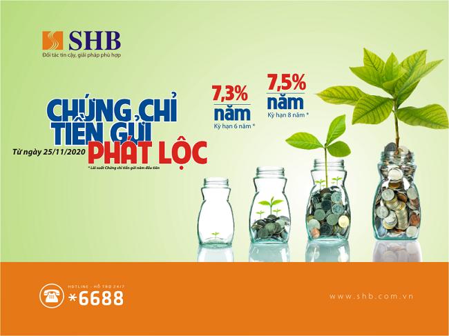 SHB phát hành chứng chỉ tiền gửi với lãi suất hấp dẫn lên đến 7,5%/năm