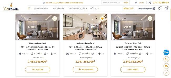Vinhomes ra mắt sàn giao dịch bất động sản trực tuyến 1