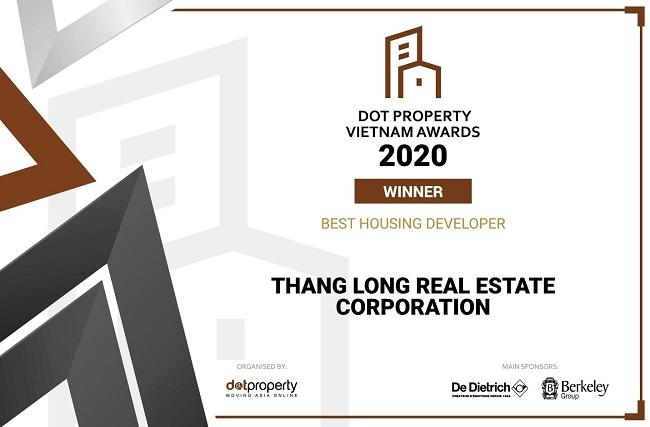Thang Long Real Group được vinh danh tại DOT Property Vietnam Awards 2020