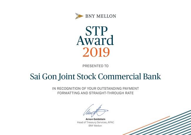 SCB nhận giải thưởng STP Award của Bank of New York Mellon