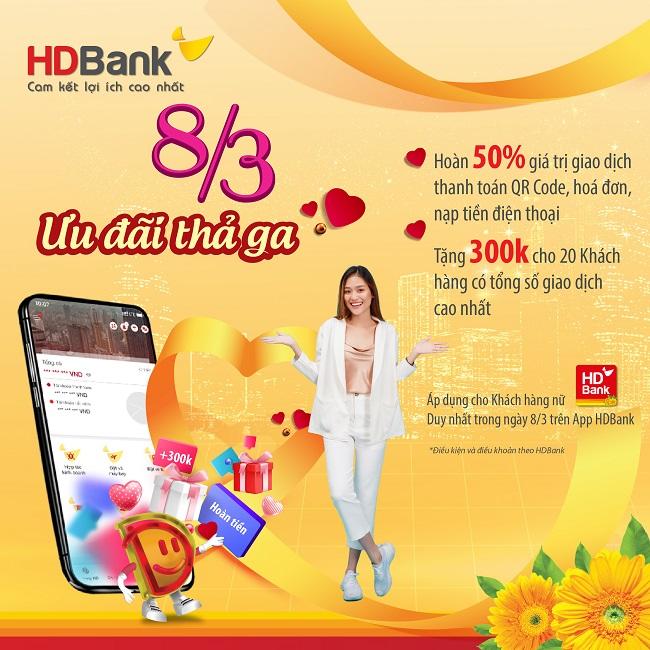 HDBank ưu đãi hàng loạt dịch vụ, quà tặng đến khách hàng dịp 8/3