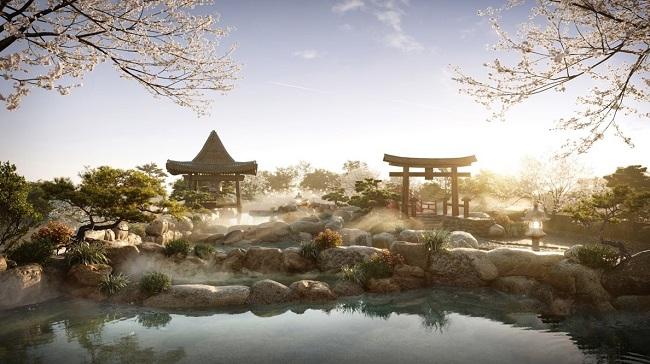 """Cận cảnh tổ hợp onsen 1.000 tỷ trong Ecopark, phát triển bởi 3 """"ông lớn"""" Nhật Bản"""