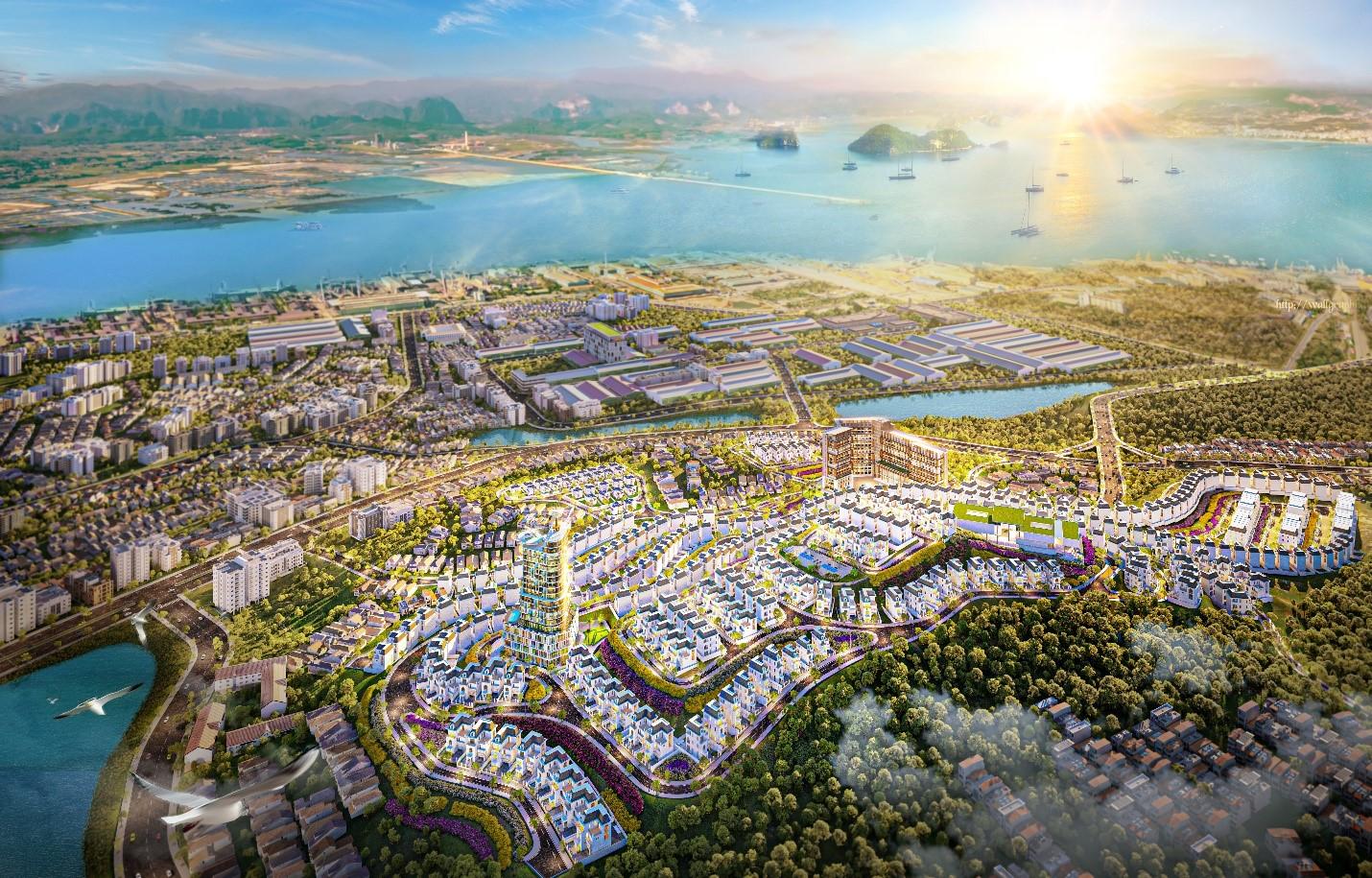Toàn cảnh Khu đô thị Hạ Long Flower Resort với tầm nhìn ôm trọn Vịnh Hạ Long.