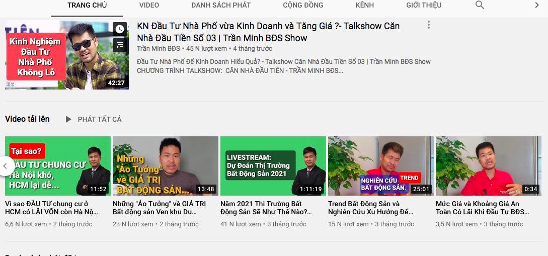 Đầu tư bất động sản hiệu quả với kênh youtube Trần Minh BĐS 1