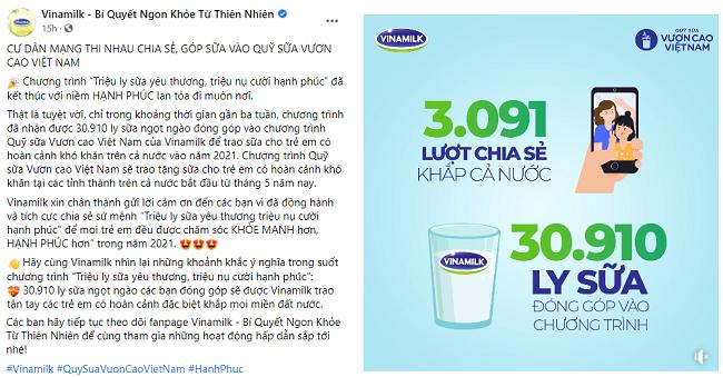 """Chiến dịch """"share"""" hạnh phúc, góp sữa của Vinamilk tạo sự lan tỏa tích cực trong cộng đồng"""